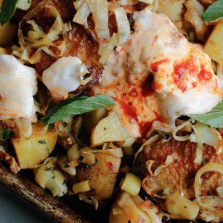 Sheet Pan Chicken with Harissa, Potatoes, Leeks and Yogurt - Easy one-sheet dinner! | circleofeaters.com